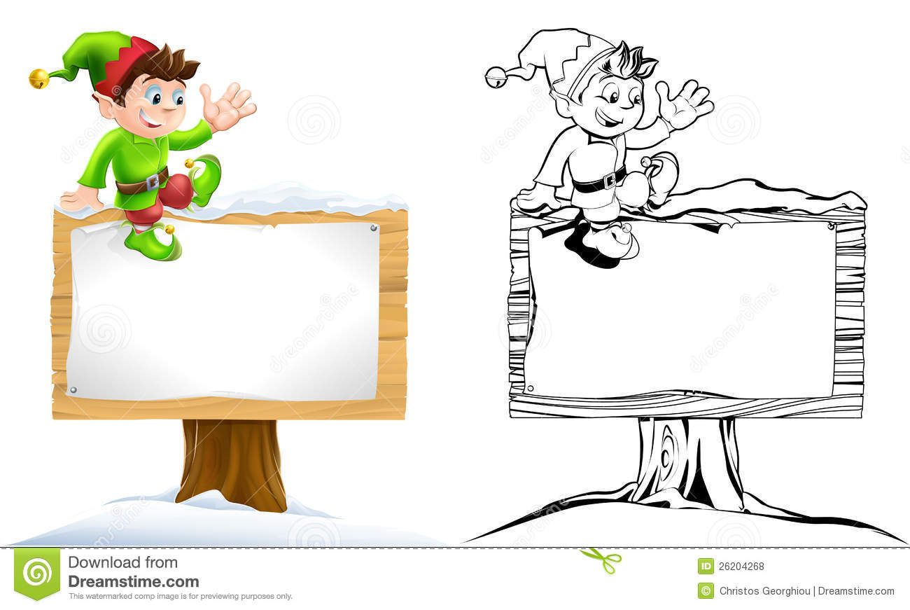 Elf On Snowy Sign Royalty Free Stock Photos Image 26204268