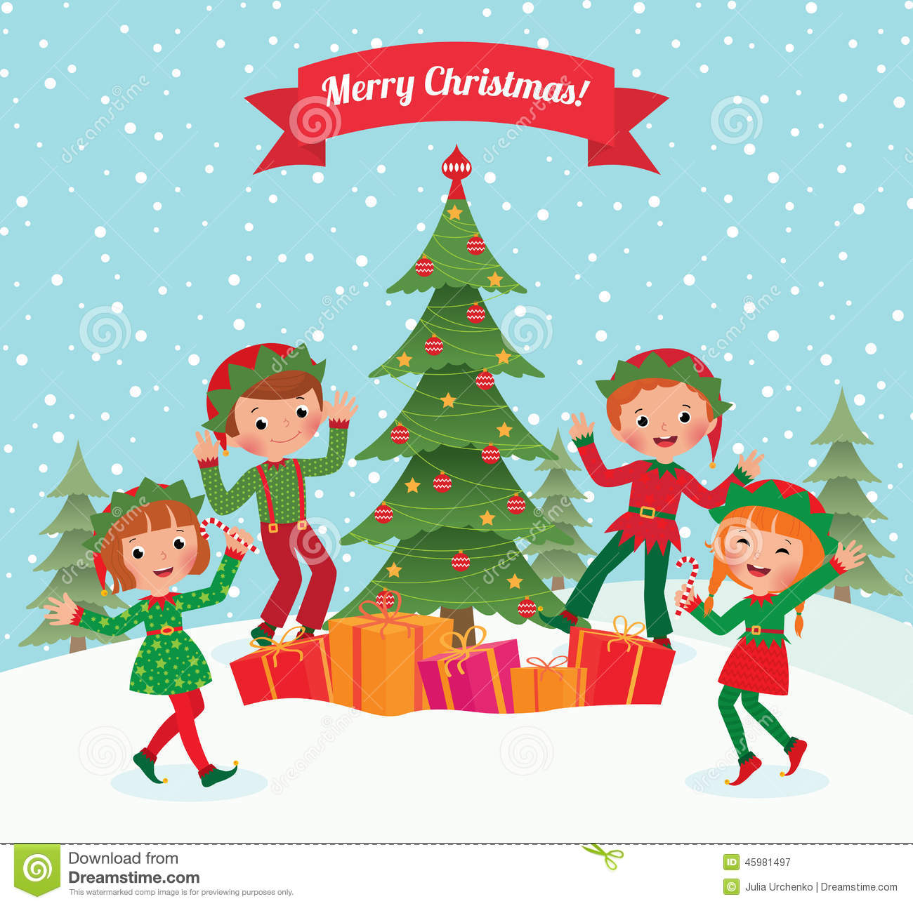 Elves And Christmas Tree Stock Vector Illustration Of