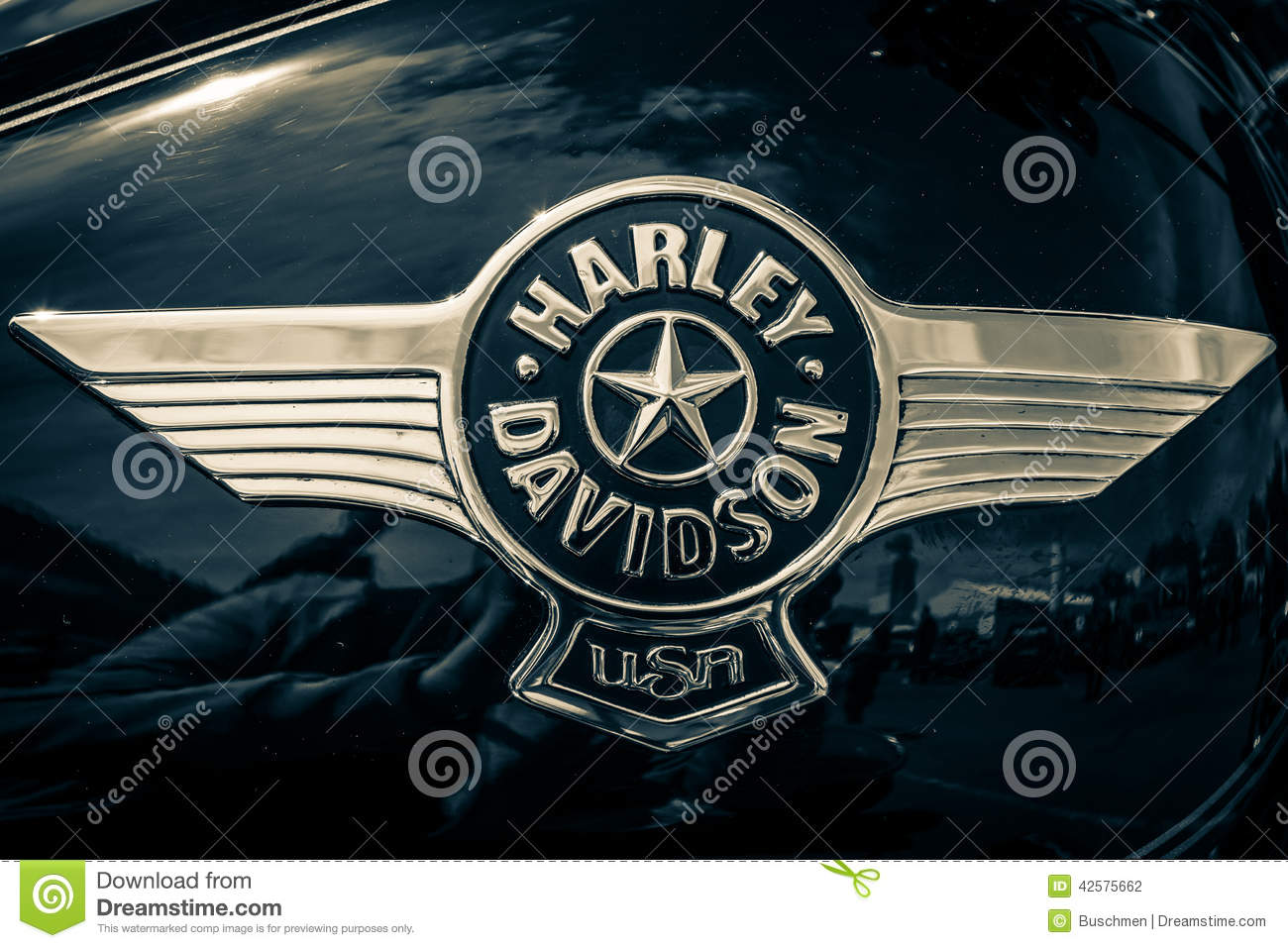 hight resolution of the emblem on the fuel tank of motorcycle harley davidson softail