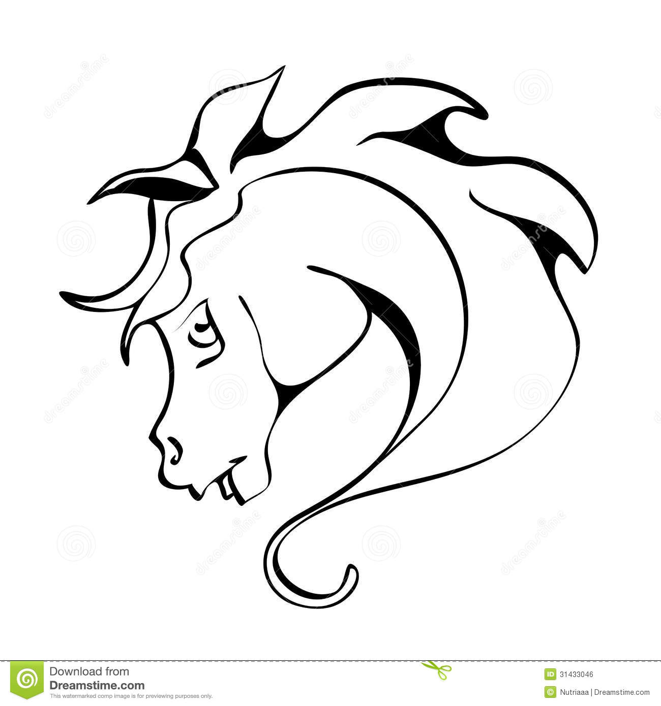 Emblem Of A Horse With A Mane Of Wavy Royalty Free Stock
