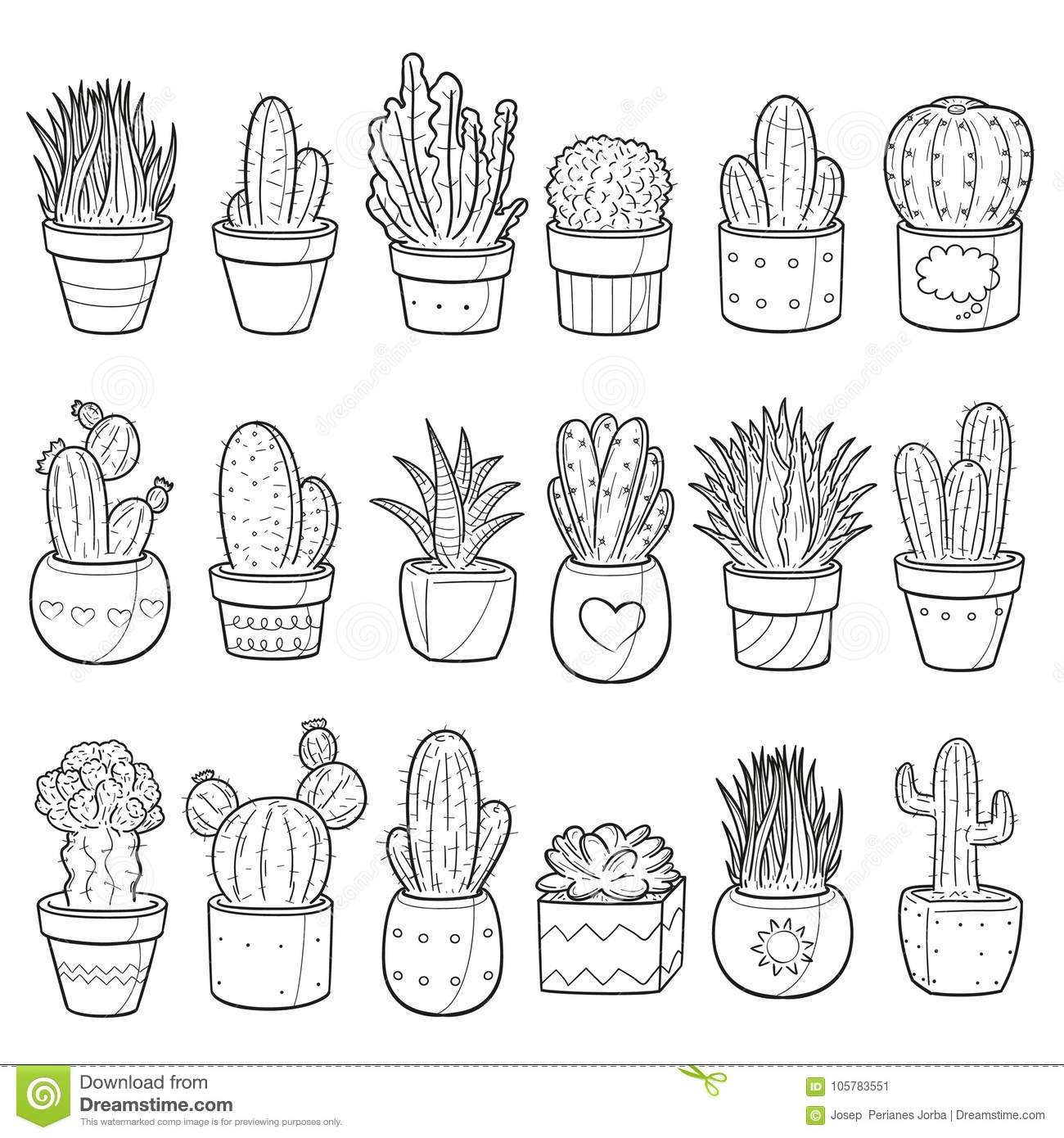 Cactus Succulent Traditional Doodle Icons Sketch Hand Made