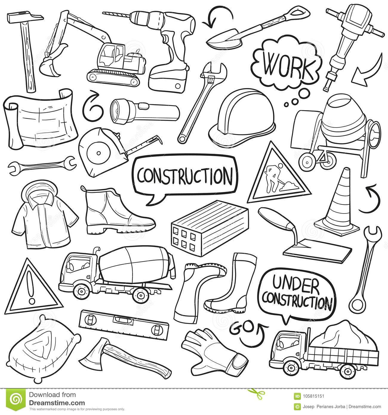 Construction Work Traditional Doodle Icons Sketch Hand