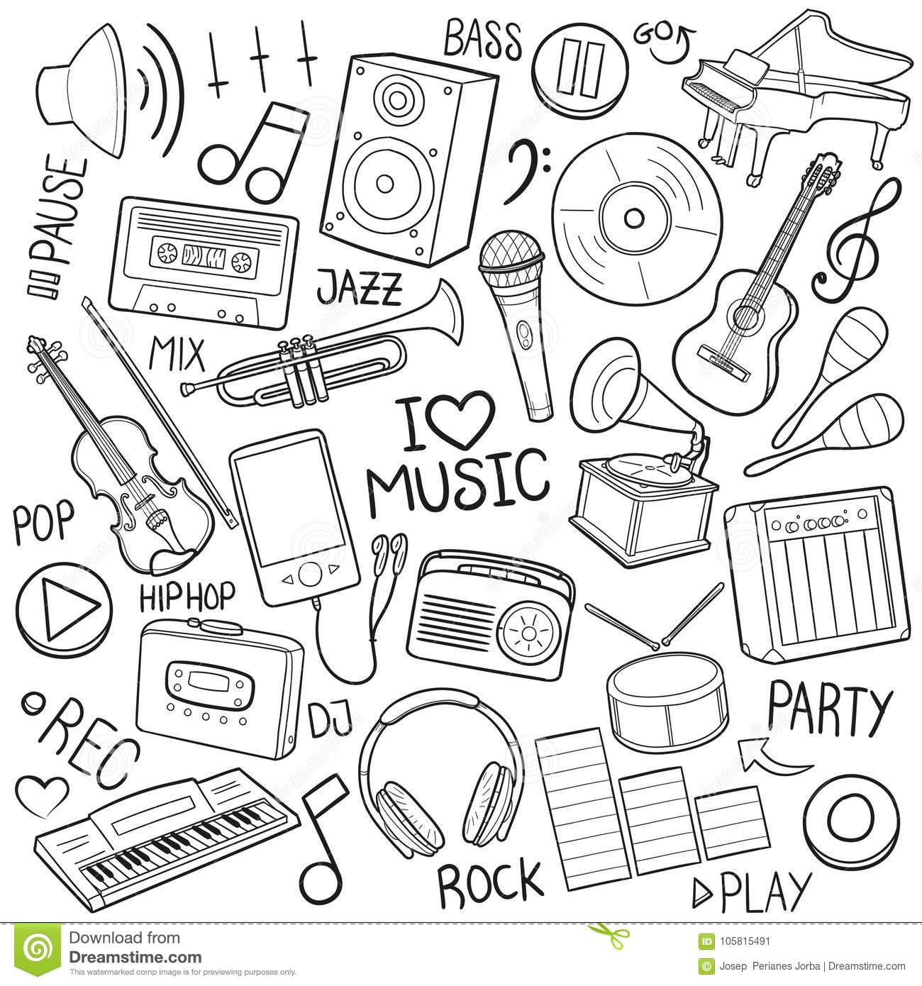 Music Tools Equipment Traditional Doodle Icons Sketch Hand