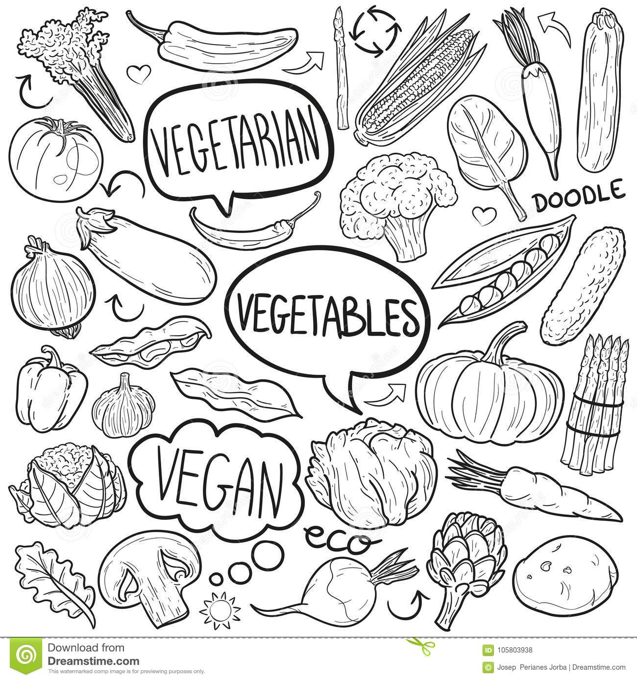 Vegetables Traditional Doodle Icons Sketch Hand Made