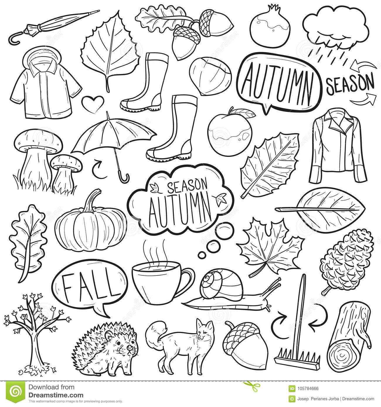 Season Autumn Traditional Doodle Icons Sketch Hand Made