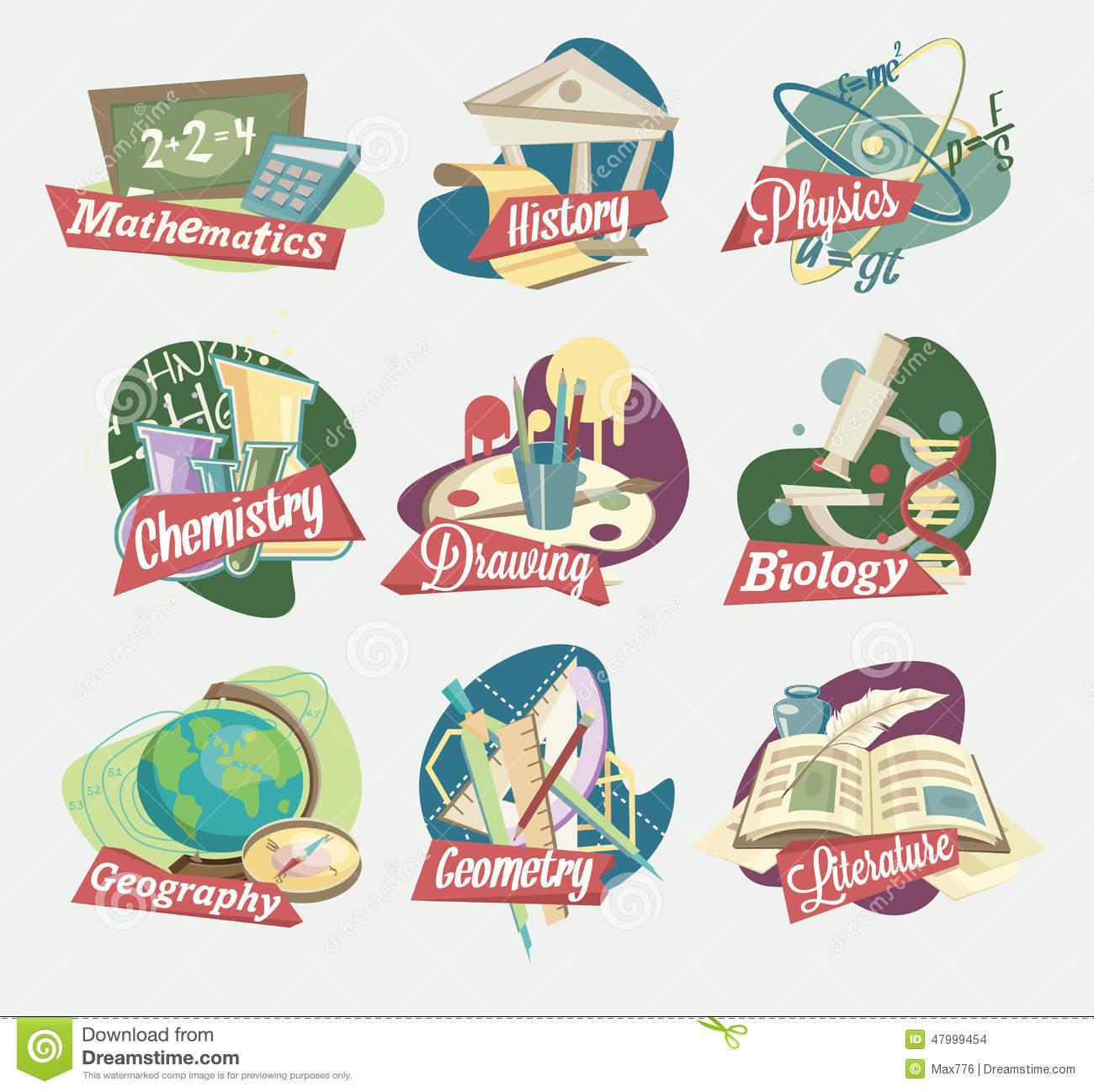 Emblems Of School Subjects Stock Vector Image Of Drawing
