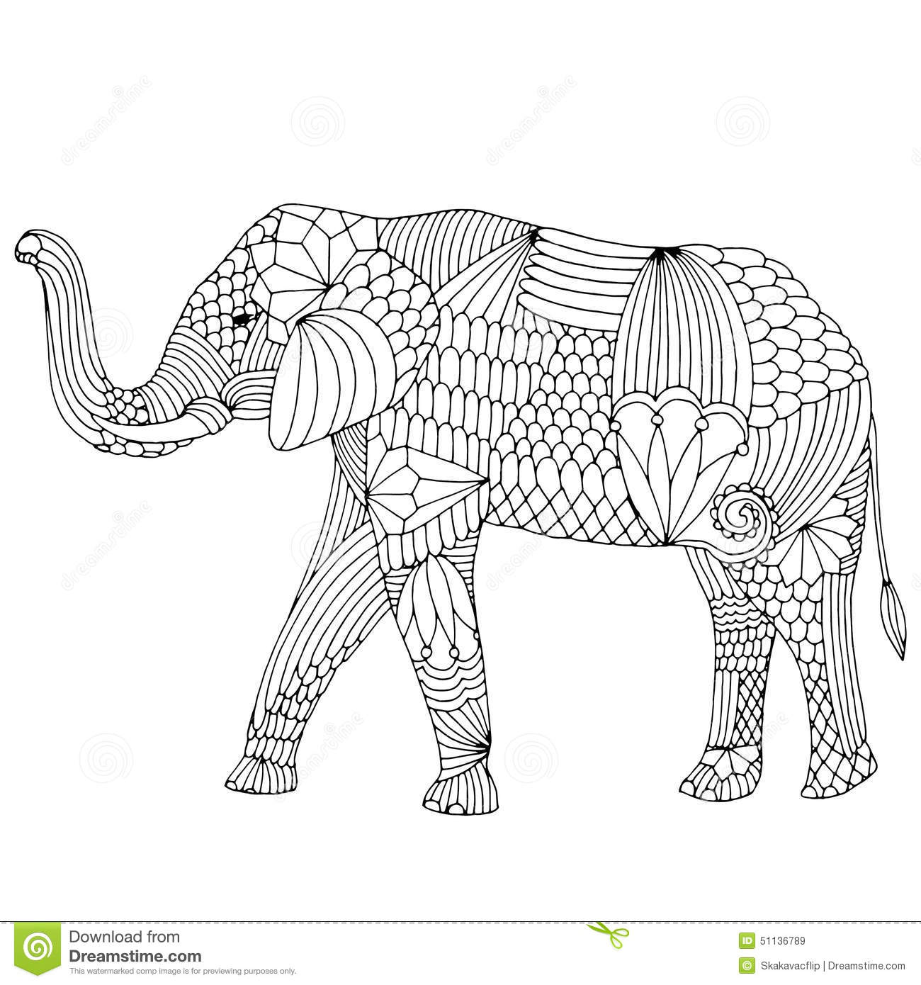 Elephant And Flower With Decorative Pattern Stock