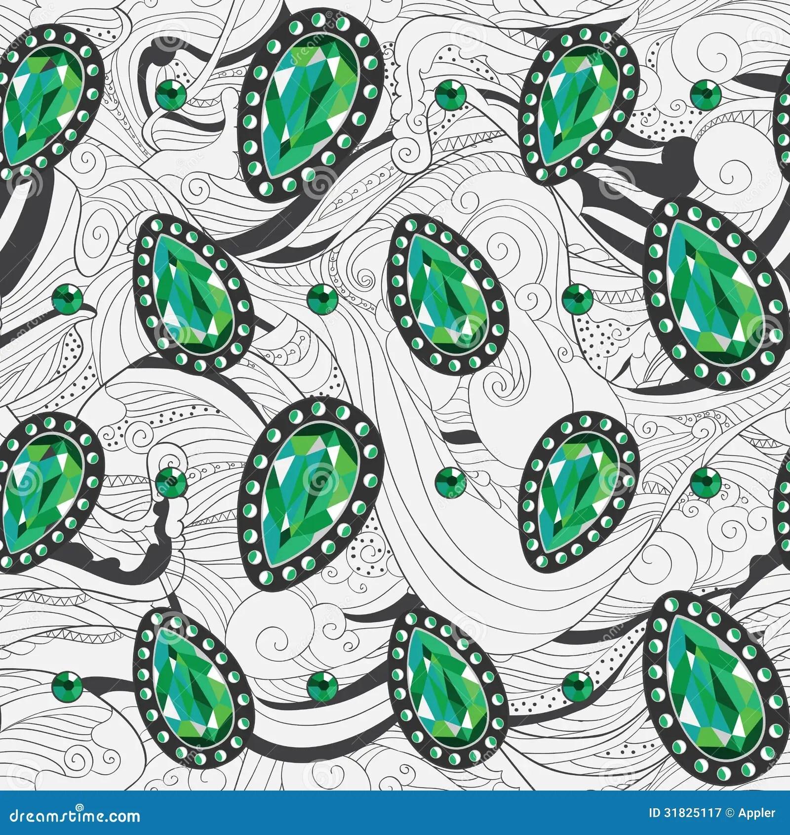 Emerald Jewelry Silver Pattern Royalty Free Stock