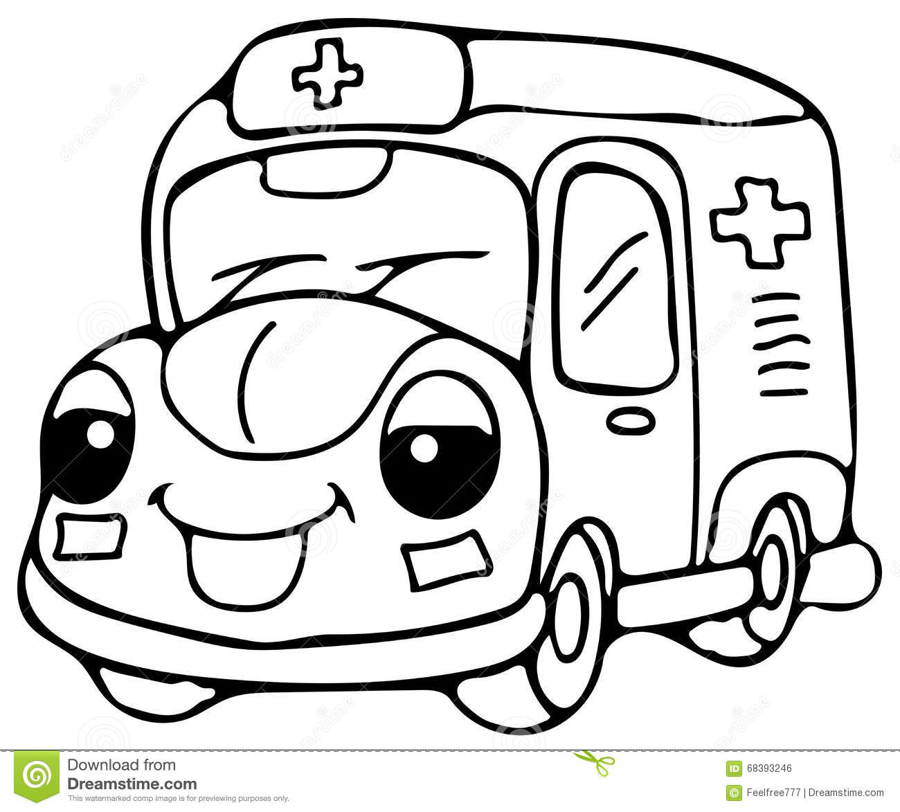 Emergency Ambulance Car Coloring Pages Stock Illustration