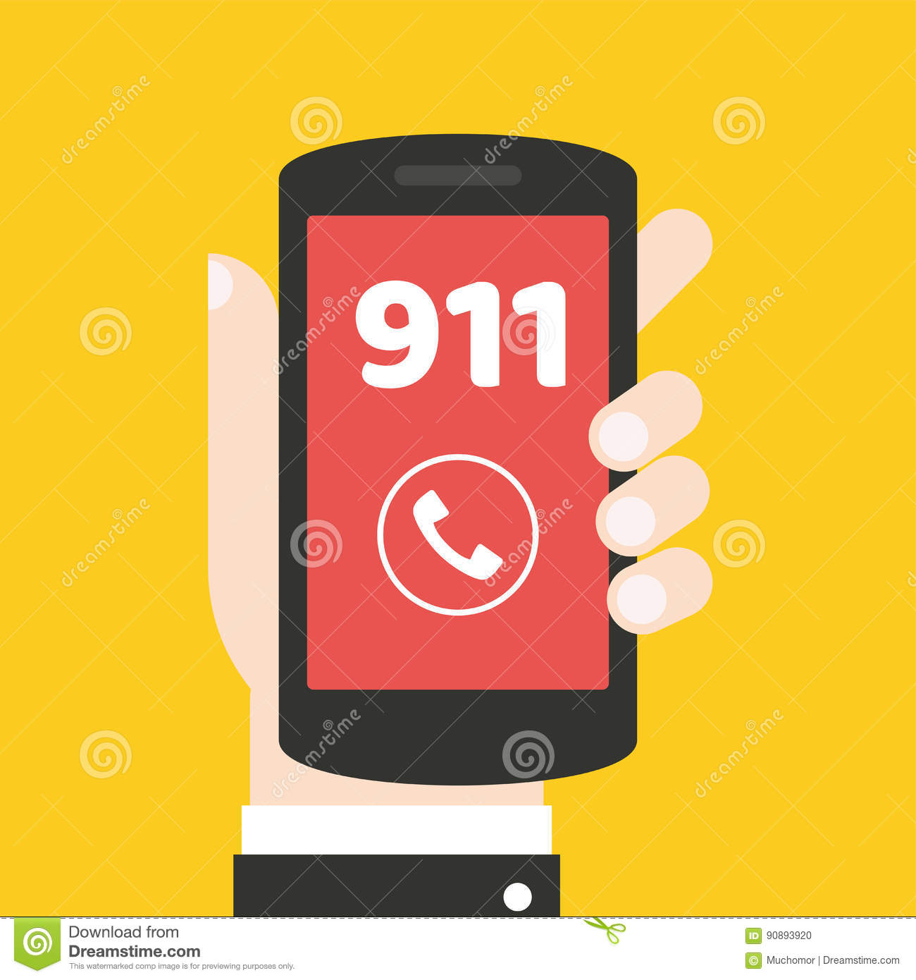 Emergency Call 911 Concept Hand Holding Mobile Phone