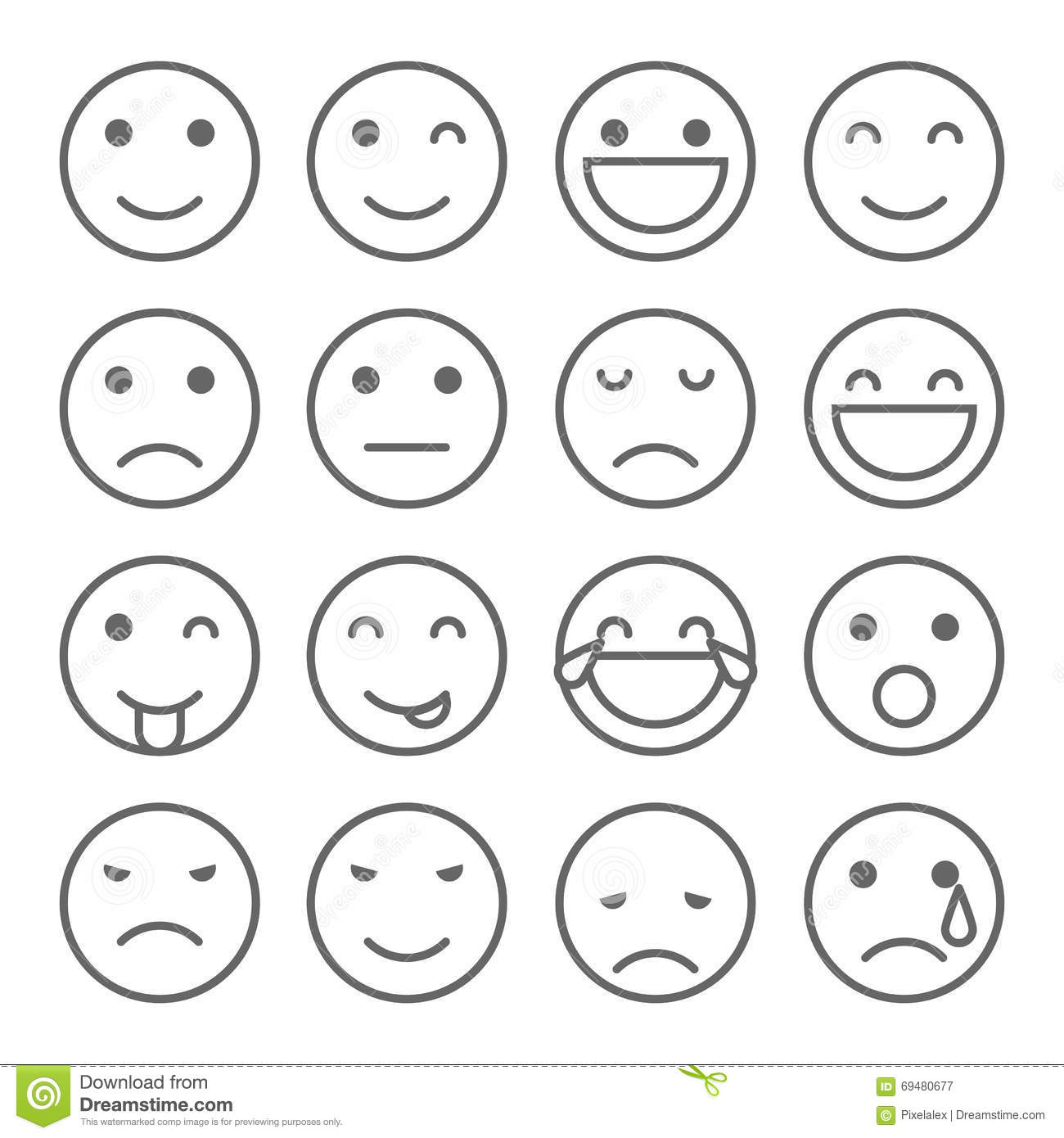 Emoji Faces Simple Icons Stock Illustration