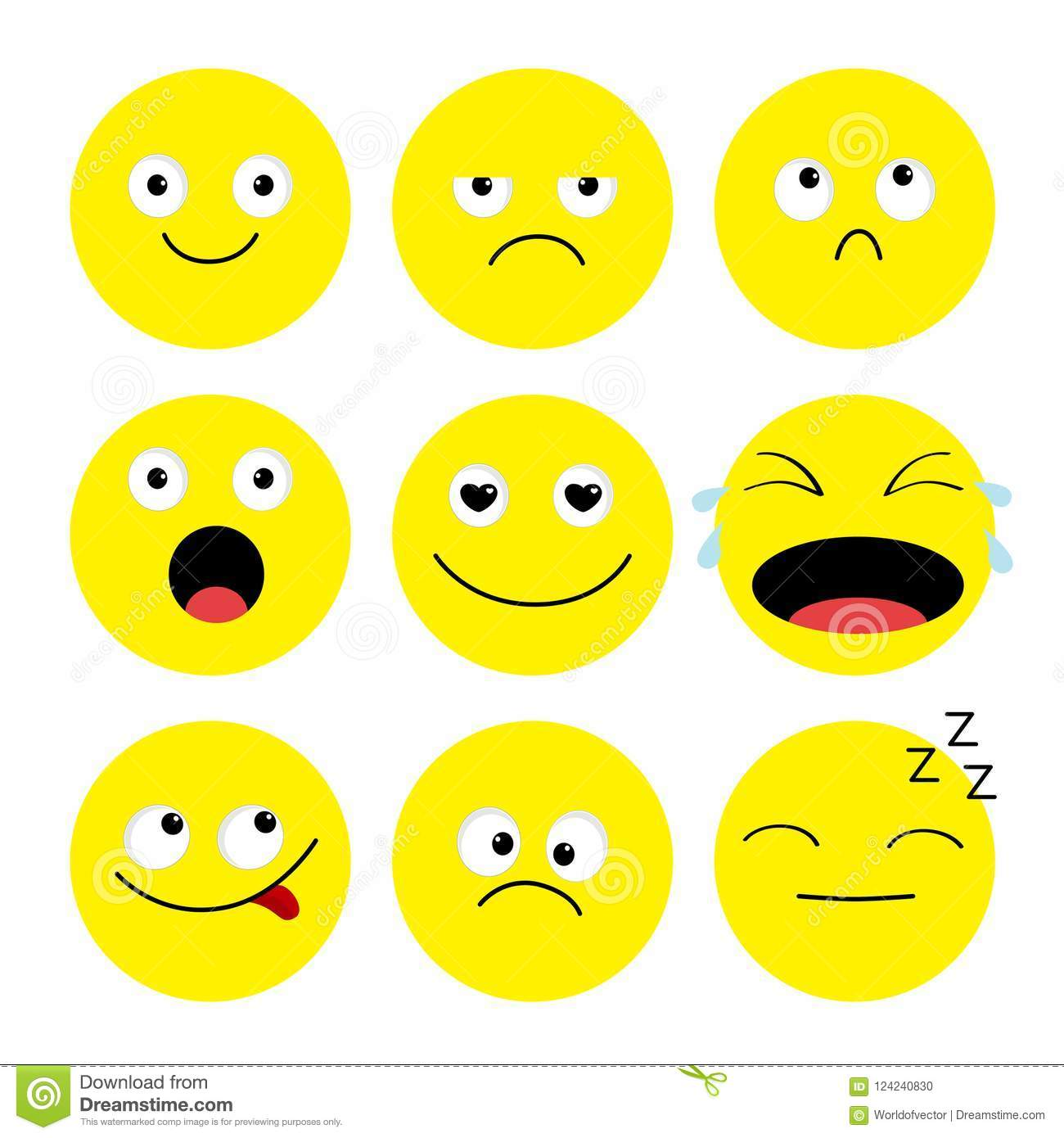Emoji Icon Set Emoticons Funny Kawaii Cartoon Characters