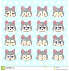 kawaii emoji anime cute cartoon wolf sweet smiley colorful sad emoticons vector emotions different sticker kitty mascot puppy illustration clip