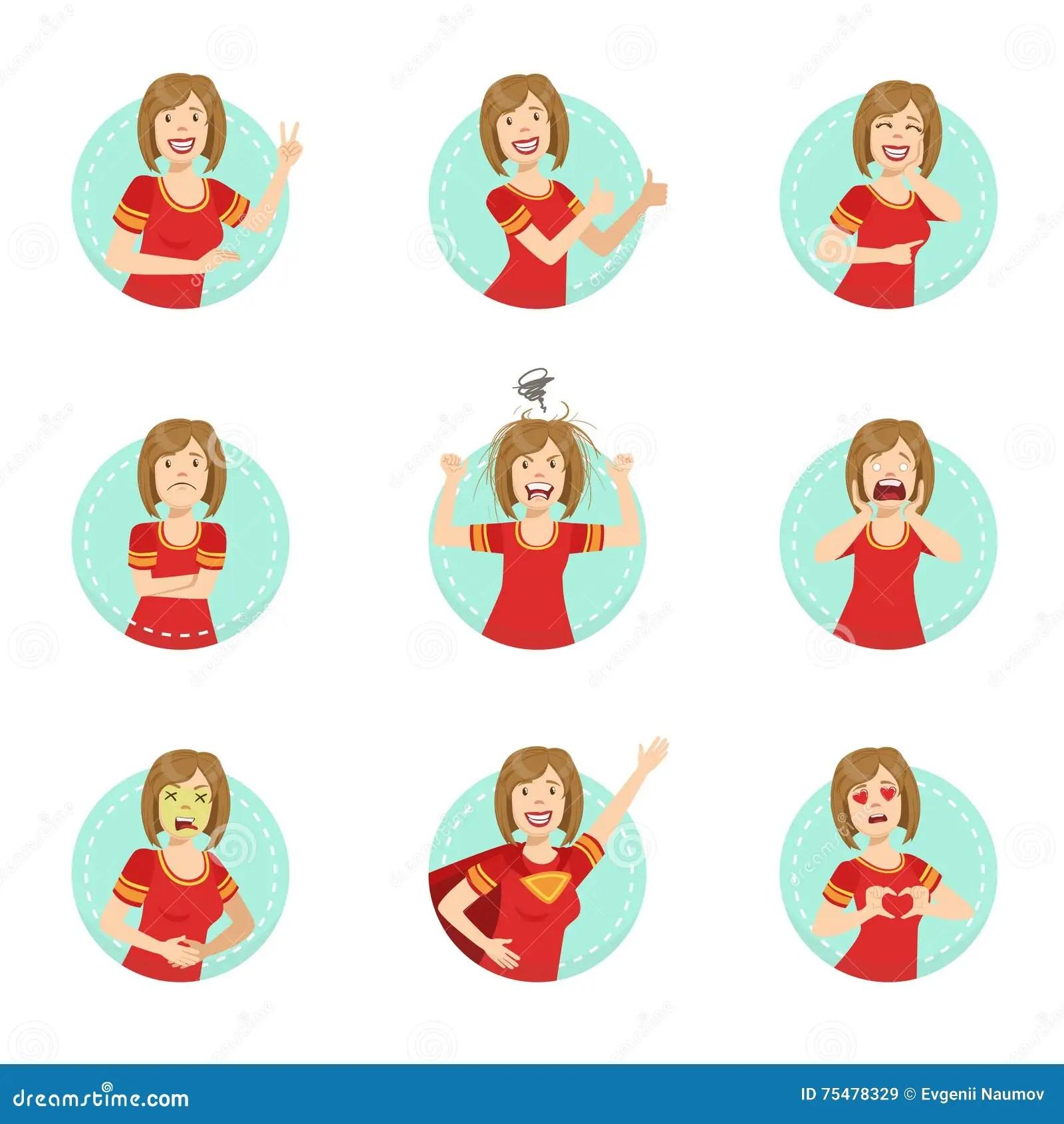 Emotion Body Language Illustration Set With Woman