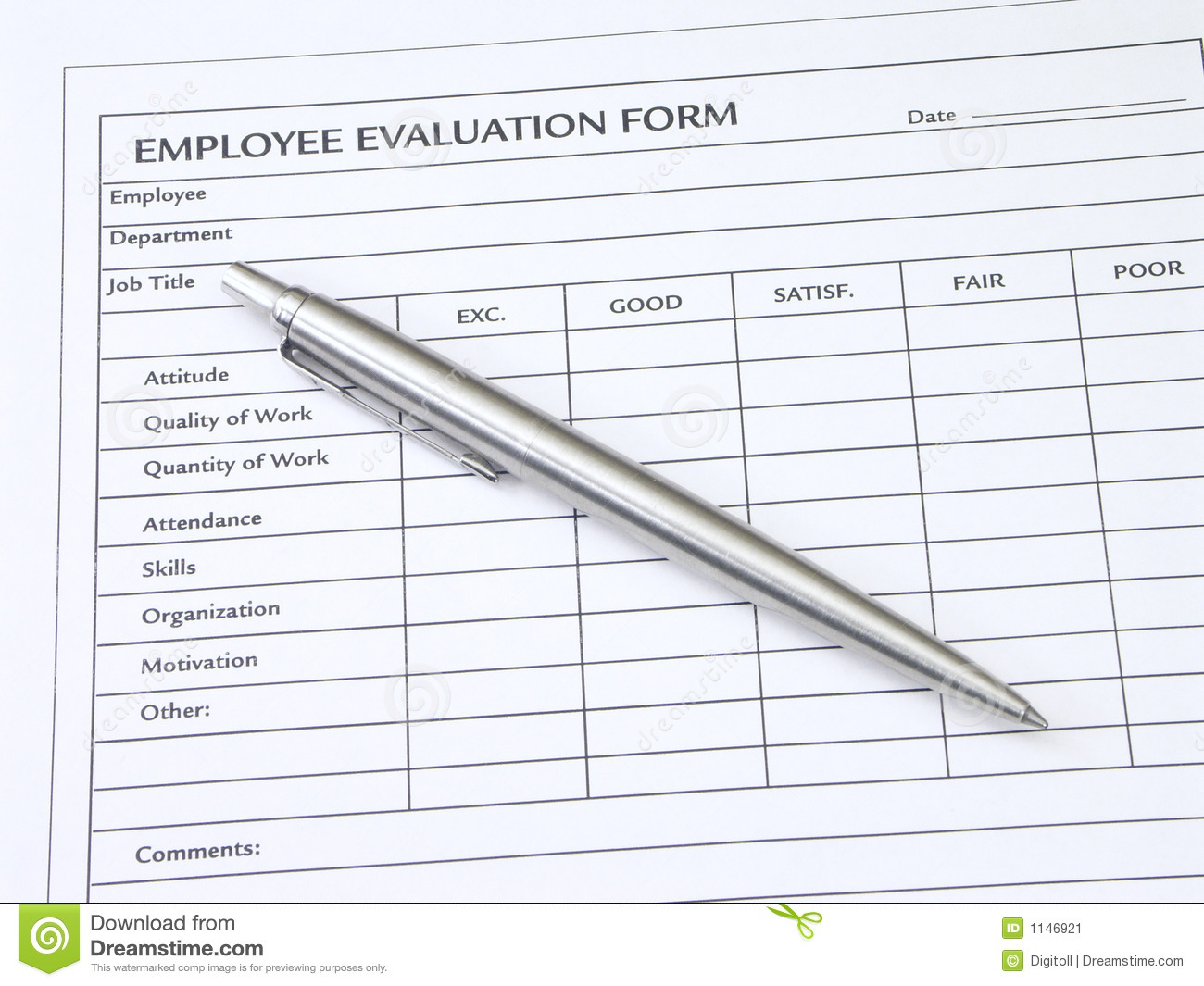 Employee Evaluation Form stock image. Image of commerce