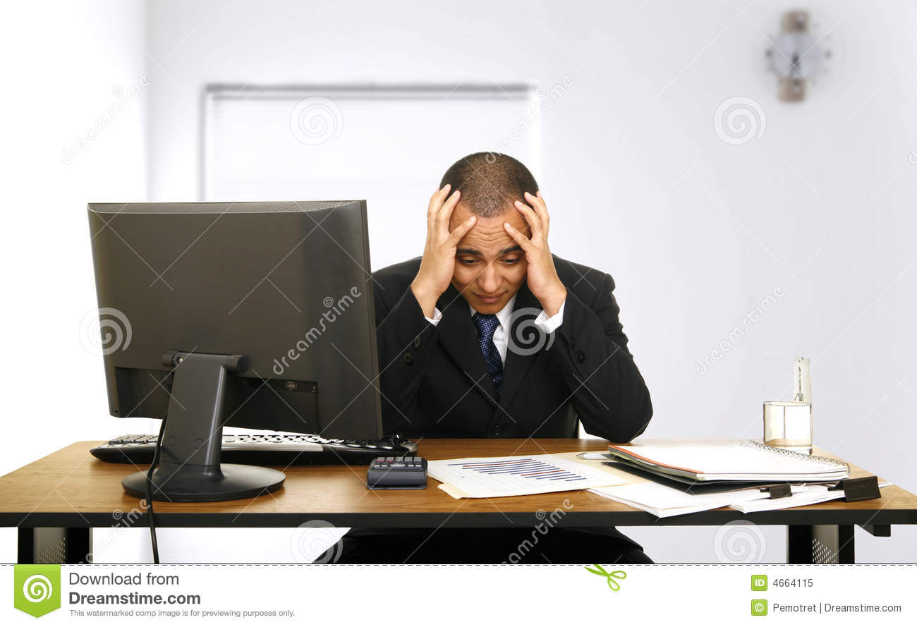Employee Stress In His Office Royalty Free Stock Photo