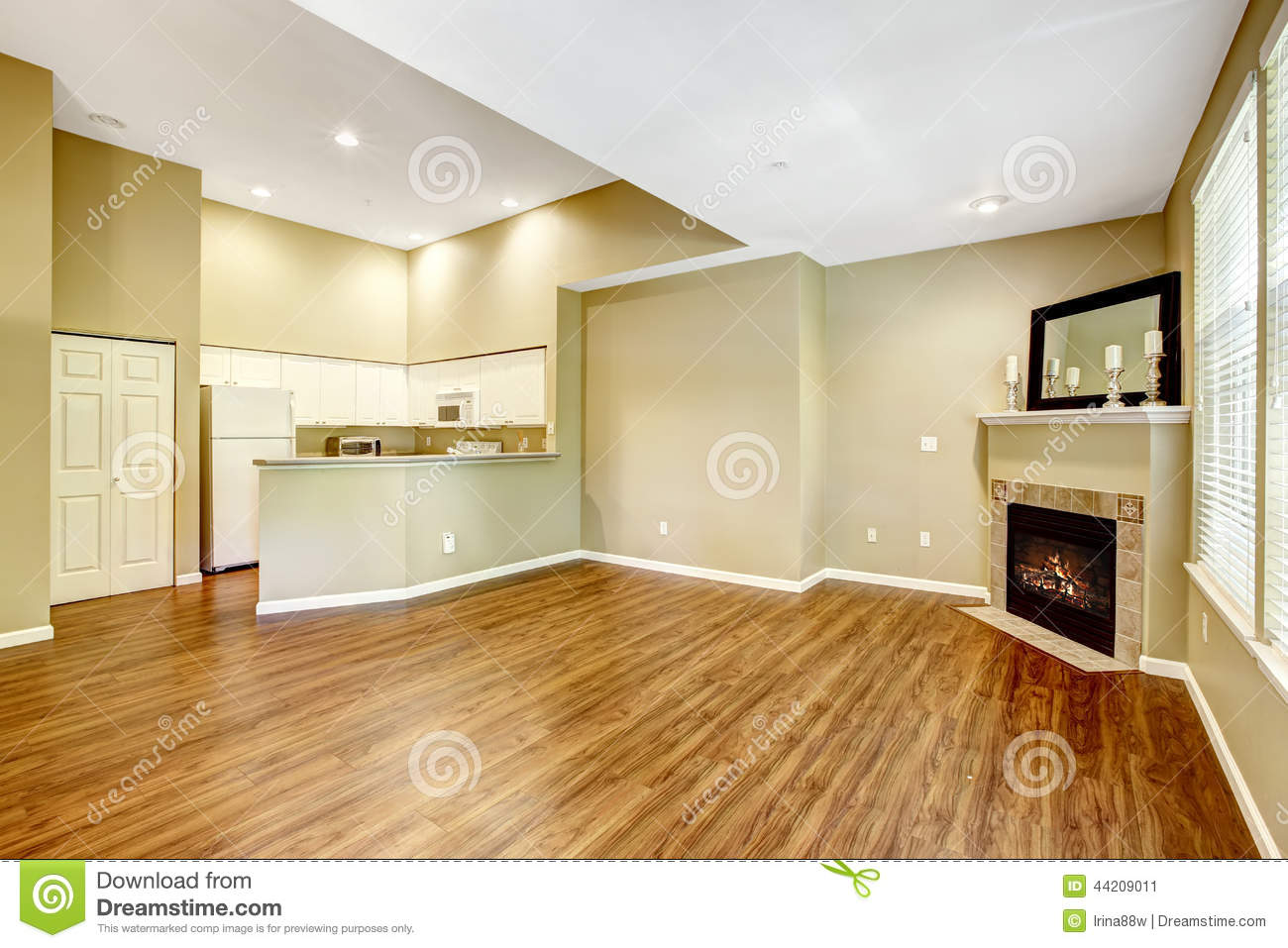 Empty Apartment With Open Floor Plan Living Room With
