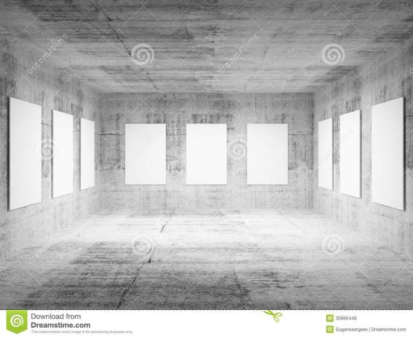 Empty Art Concrete Hall 3d Interior Stock Illustration - Of