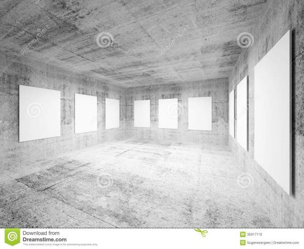 Empty Art Concrete Hall Interior Stock - 35917110