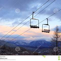 Ski Chair Lift For Elderly Empty Lifts At A Slope Stock Image Of
