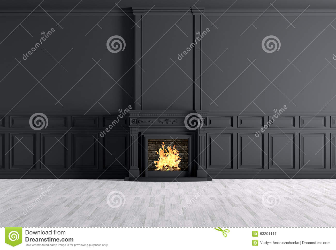 Empty Classic Interior Of A Room With Fireplace Over Black