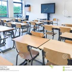 Teacher Table And Chair Plastic Eames Replica Empty Classroom With Tables Chairs Stock Image