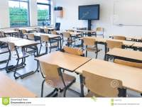 Empty Classroom With Tables And Chairs Stock Image - Image ...