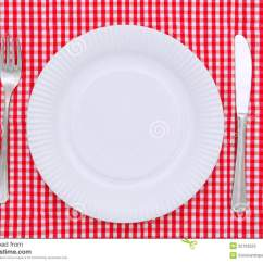 Red Kitchen Knife Set Cool Gadgets Empty Dinner Plate Stock Image. Image Of Place, Nobody ...