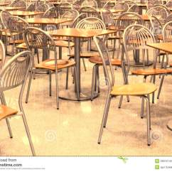 Just In Time Tables Chairs Chair With Attached Table Empty Fast Food Restaurant Stock Photo Image 39972142