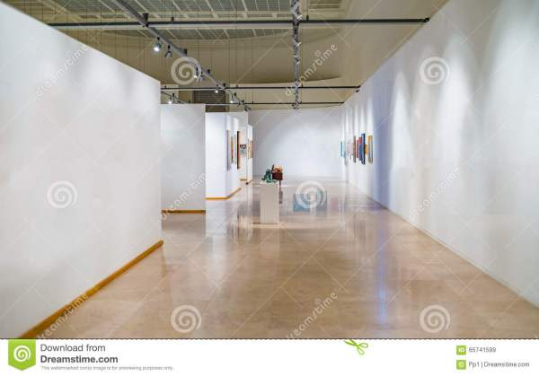 Empty White Museum Space Walls Stock