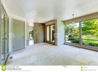 Empty House Interior. Living Room With Glass Wall Stock ...