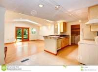 Empty House Interior With Open Floor Plan. Living Room And ...