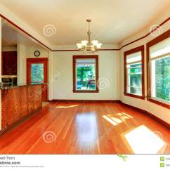 Remodeled Kitchen Cost To Build Outdoor Empty House Interior In Soft Ivory With Brown Trim Stock ...