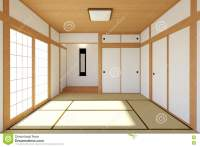 Empty Japanese Living Room Interior In Traditional And ...