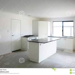 Tile Kitchen Floor Cabinets Warehouse Empty Stock Photo. Image Of Contemporary, ...