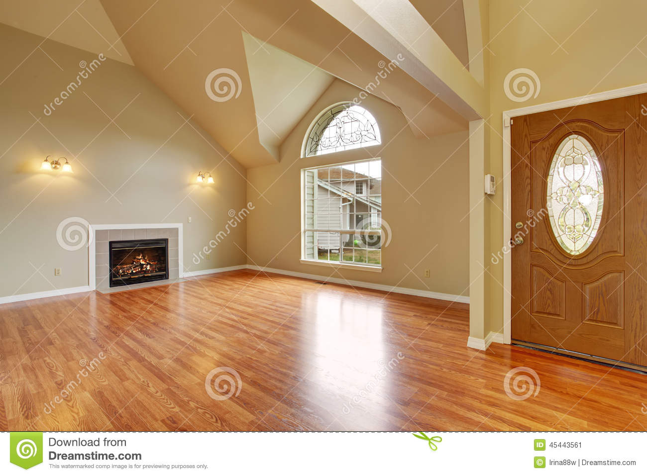 Empty Living Room With Fireplace Nd Big Arch Window Stock