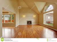 Empty Living Room With High Ceiling And Fireplace Royalty ...