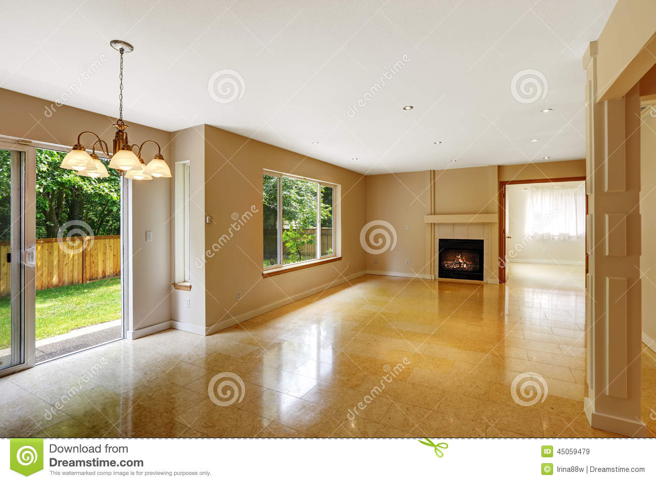 Empty Living Room With Shiny Marble Tile Floor And
