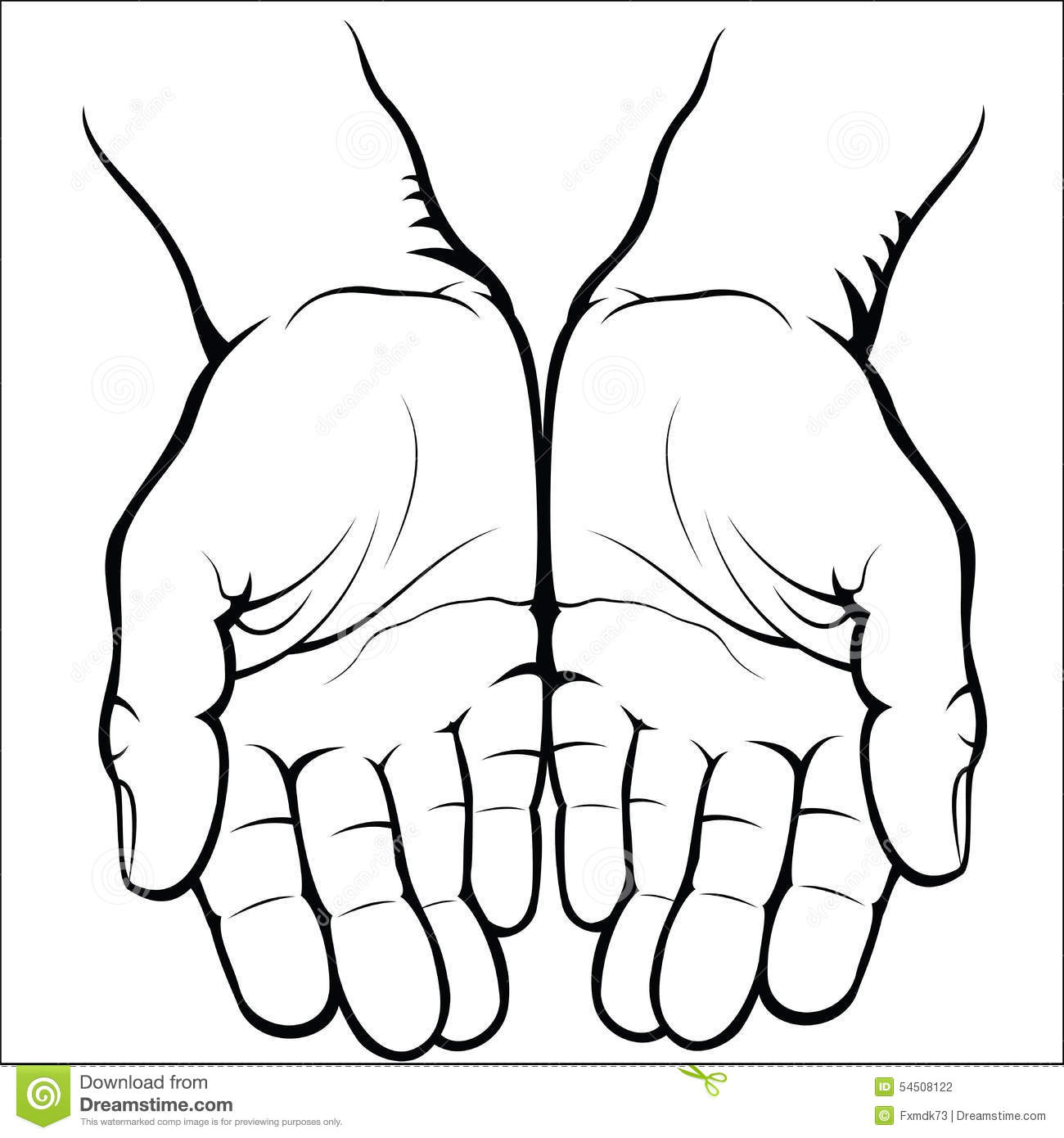Open Hand Coloring Pages