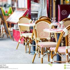 Paris Bistro Chairs Outdoor Wheelchair Poncho Empty Restaurant Table In France Stock