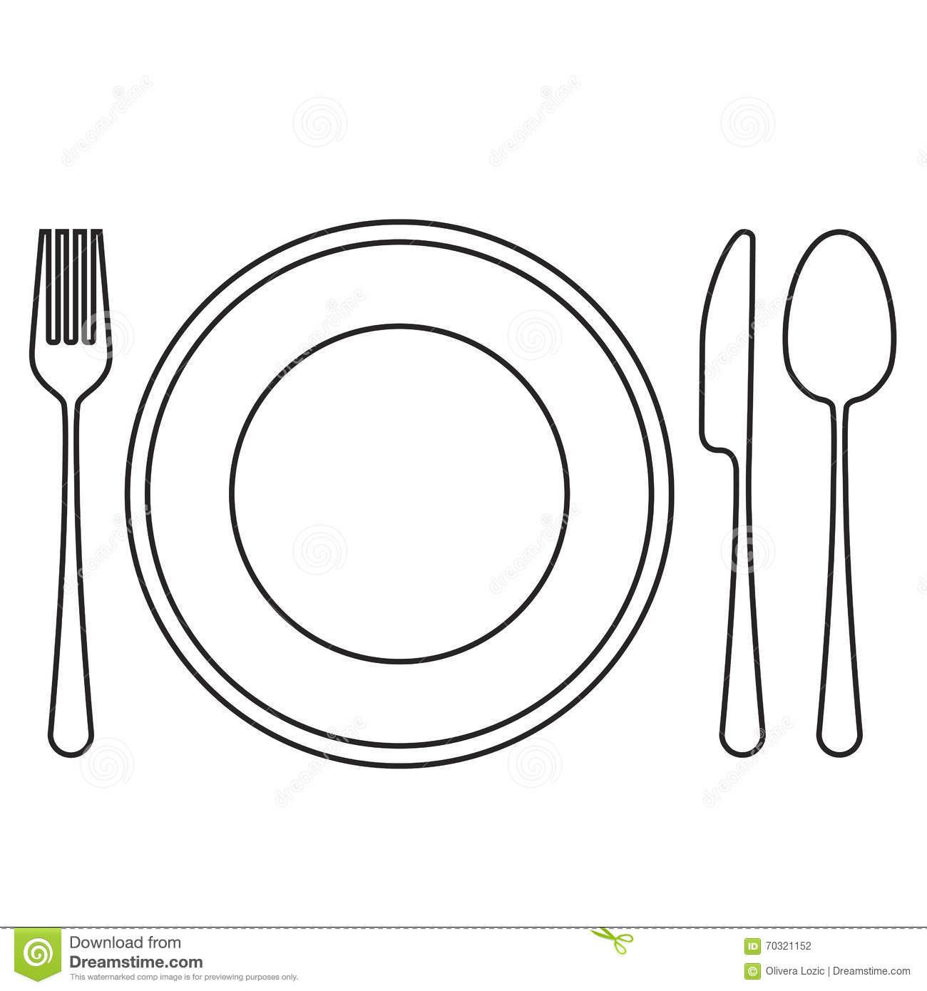 Empty Plate With Spoon Knife And Fork Stock Vector