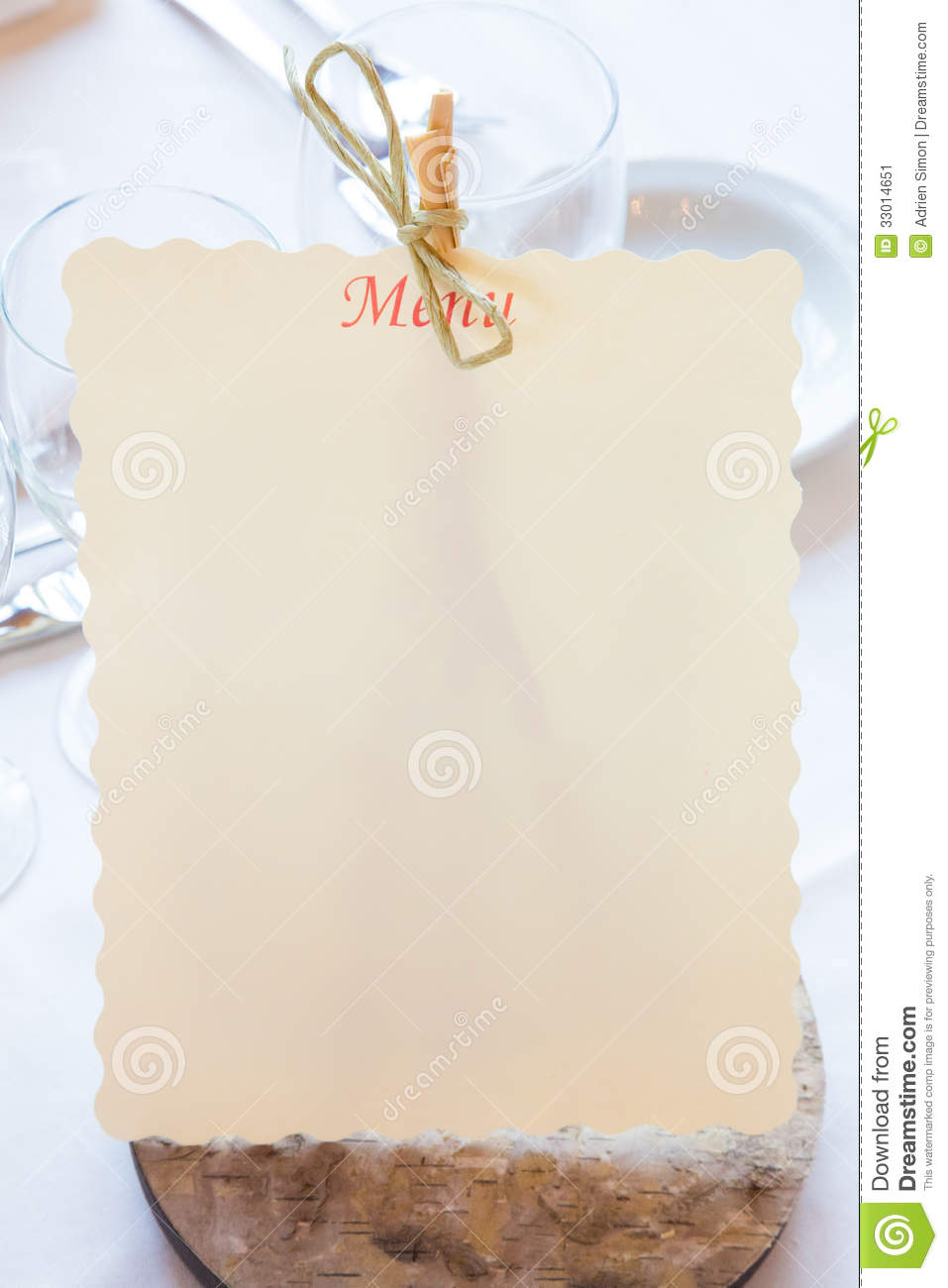 Empty Restaurant Menu Stock Image  Image 33014651