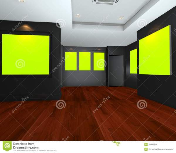 Empty Room Interior With Green Chromakey Backdrop Canvas Royalty Free Stock - 33596845