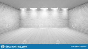 brick empty walls studio ceiling floor realistic lamps wooden exhibition template