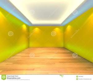 empty yellow wall interior wooden rendering floors decorated modern