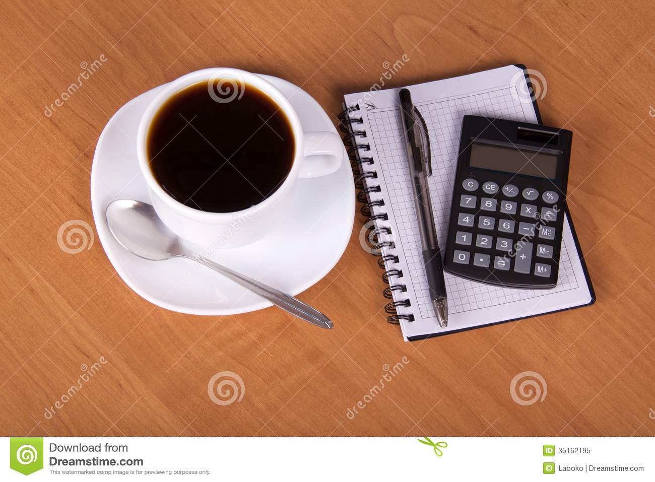 Empty Sheets For Notes Calculator And Cup Of Royalty Free Stock Photo