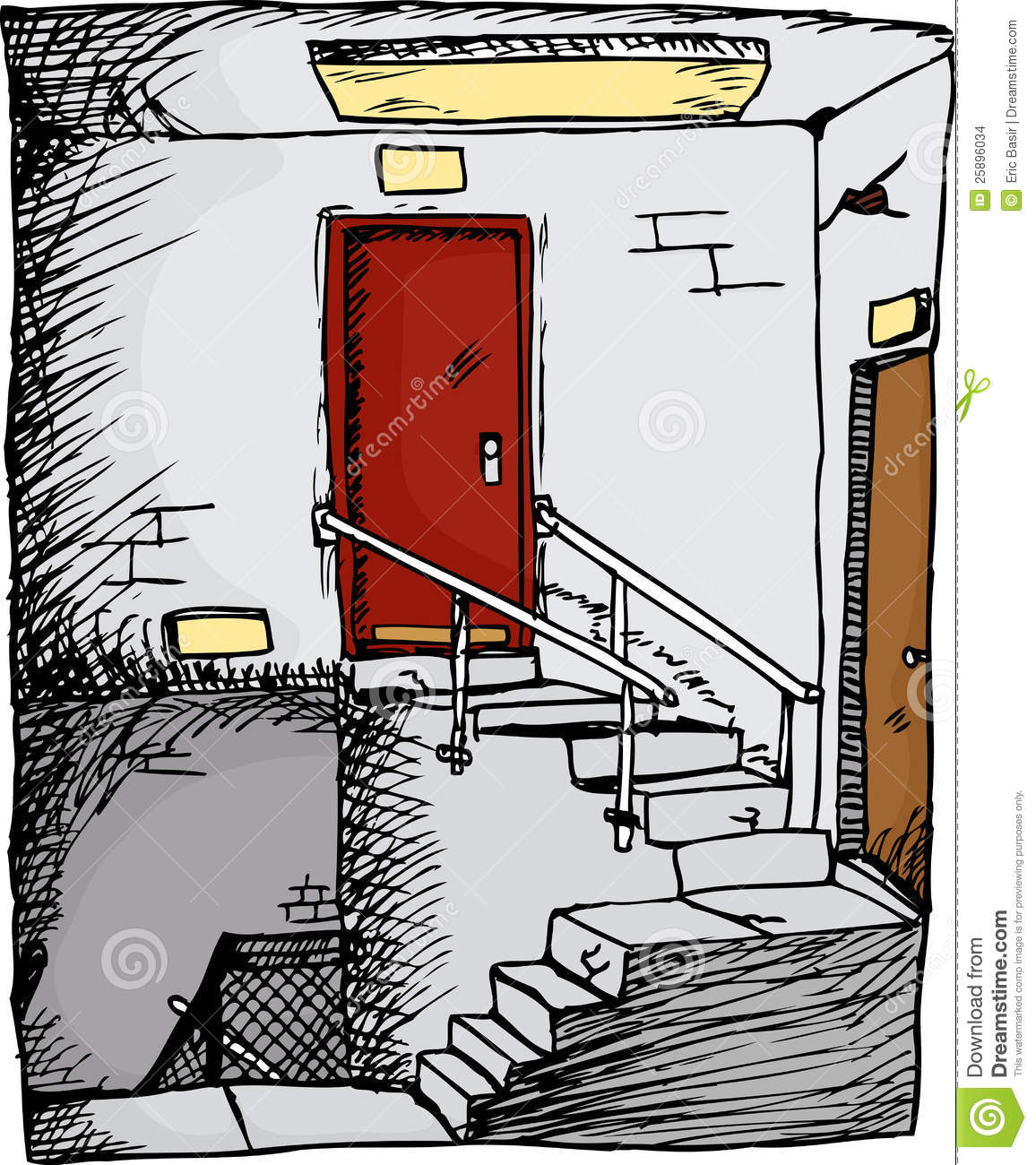 hight resolution of empty stairwell with two doors inside a building
