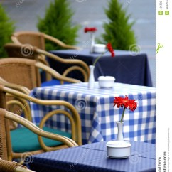 Restaurant Chairs For Less Hanging Chair Pier 1 Empty Tables On The Street With Roses Them Outside A Cafe Bar Or . Stock Photo ...