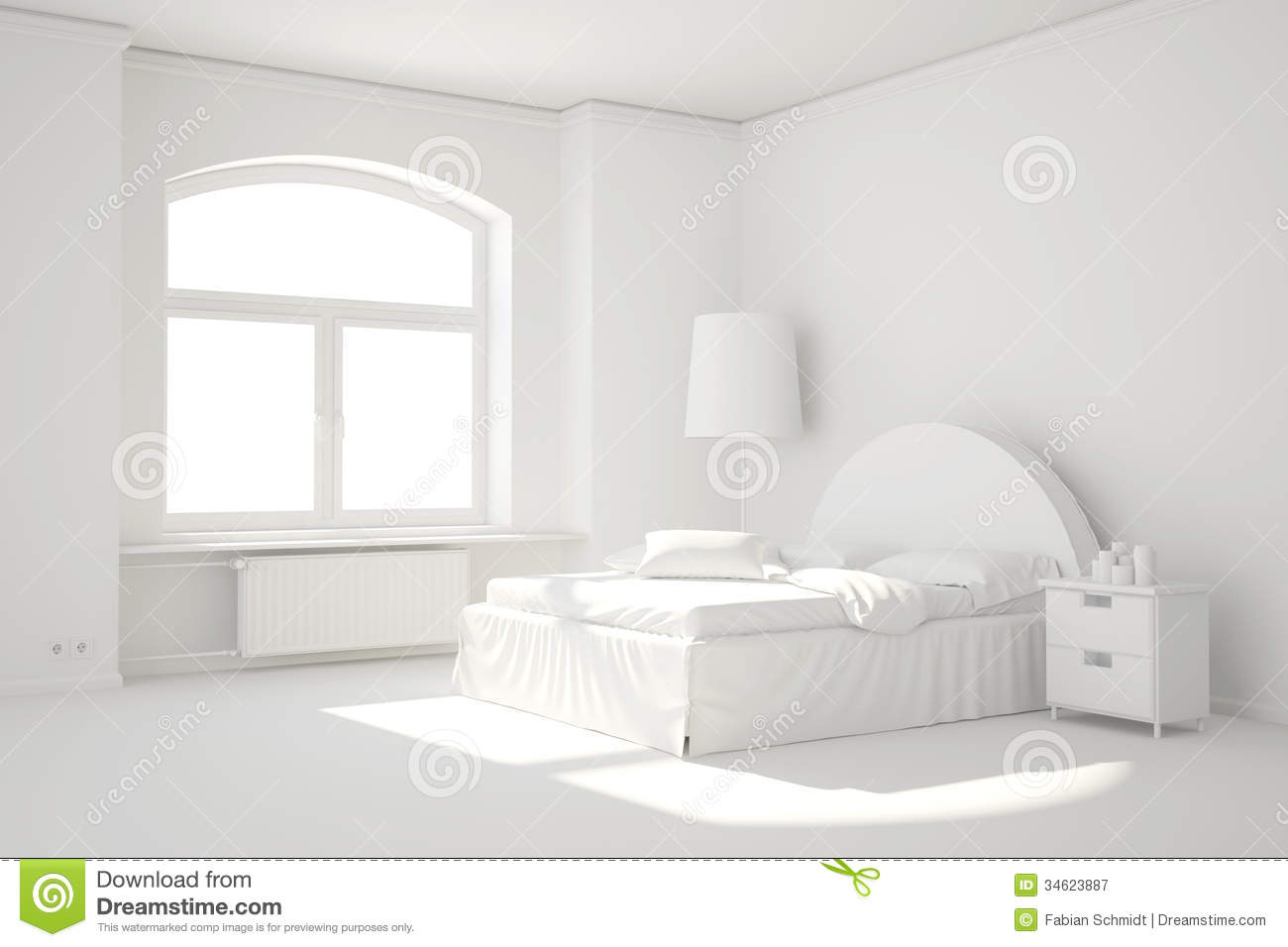 Empty White Bed Room With Window Stock Illustration  Illustration of minimalism building 34623887
