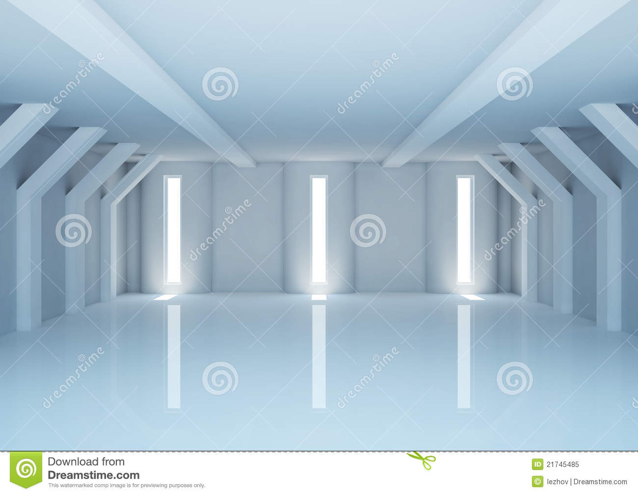 Empty Wide Room With Futuristic Columns Royalty Free Stock
